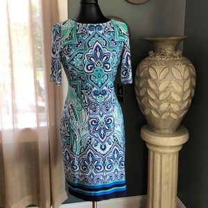 Blue and green paisley dress